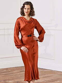 30s Joanie Bias Cut Dress - Rust Satin