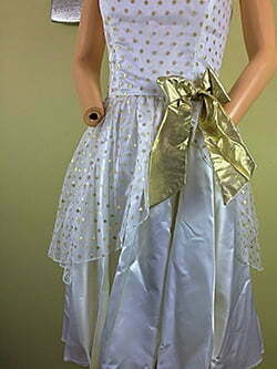 Vintage 80s Party Prom Gold Metallic Polka Dot Peplum Bows Punk Satin Dress S