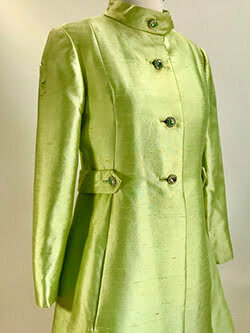 Vintage 1960s Satin Shantung Dressy Coat//Rhinestone Buttons//1960s Apple Green Mod Coat