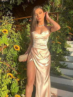 Side Draped Gold Satin Long Prom Dress with Slit