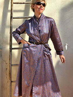 Satin paisley Kimono French Vintage Dress 70-80s Coat Dress Inside Outer Cashmere Printed Large Plus Size