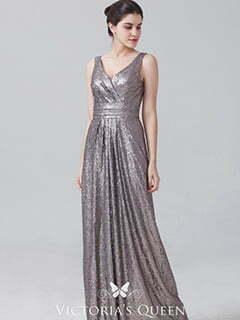 Grey Sequin Vintage Sleeveless V-neck Bridesmaid Dress