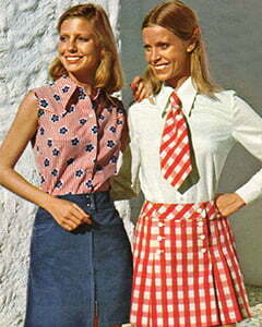 3 women with 1970s skirts