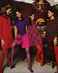 4 women with tights of many color