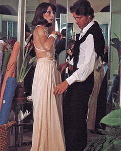 Halston fiting a woman