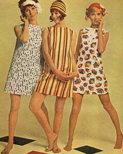 Three women with shift dresses