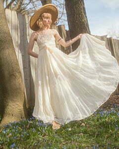 a vintage white dress