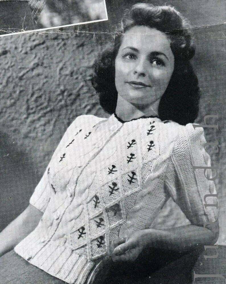 Vintage 1940s Women Knitting Cardigans-Wartime Fashion ...