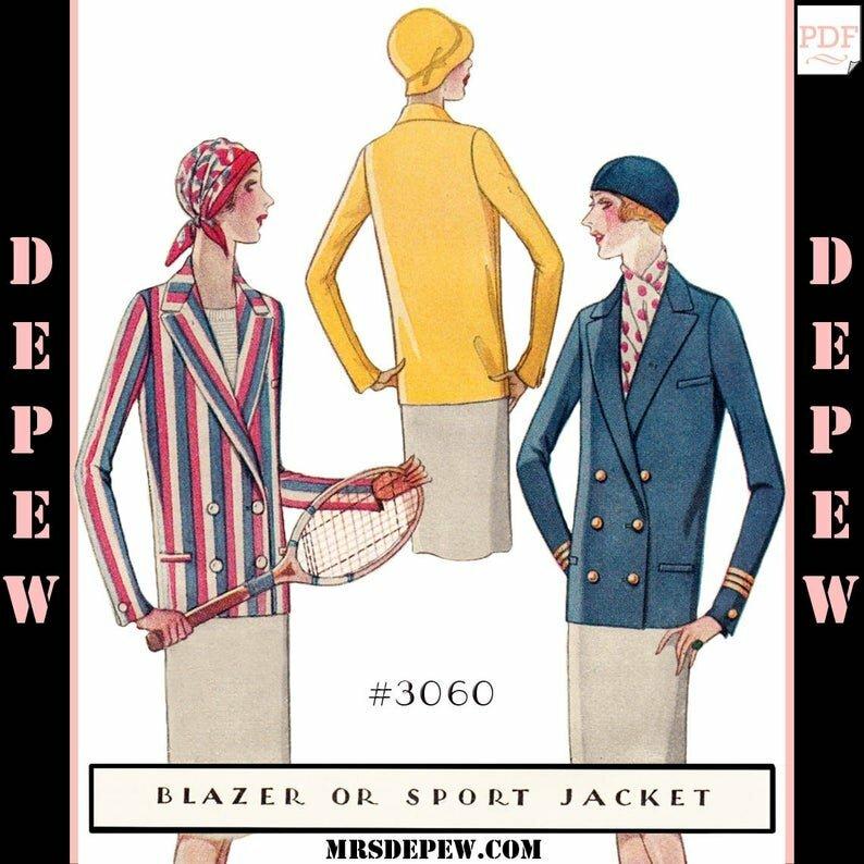 Vintage Flapper Sewing Pattern Ladies' 1920s Blazer Sport image 0