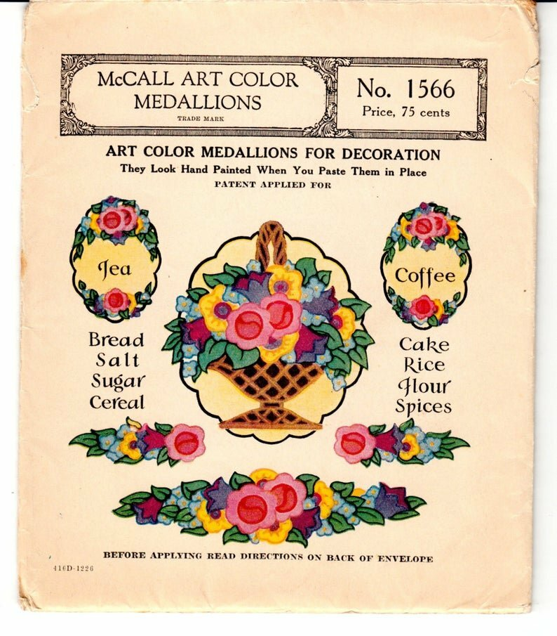Original Vintage Pattern McCall 1566 1920's Floral Kitchen image 0