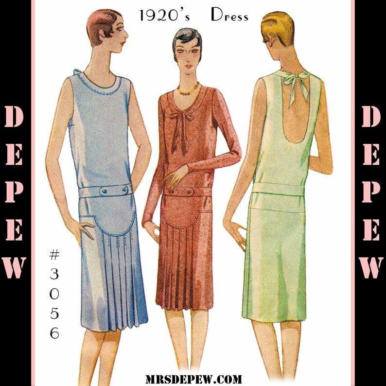 Vintage Sewing Pattern Ladies' 1920s Flapper Dress 3056 image 0