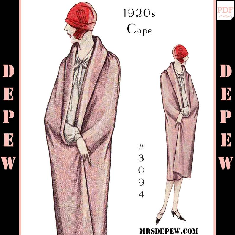 Vintage Sewing Pattern Ladies' 1920s Day & Evening Cape image 0