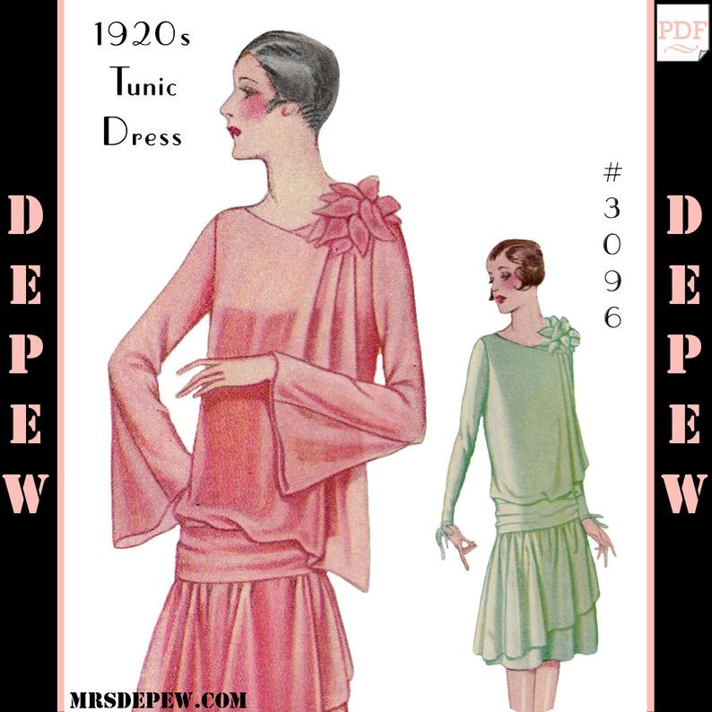 Vintage Sewing Pattern Ladies' 1920s Dress with Drapery image 0
