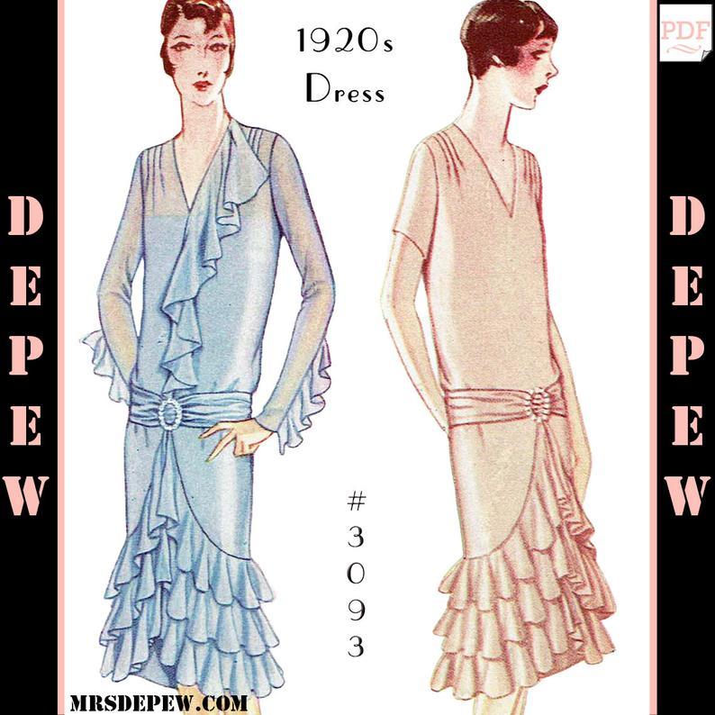 Vintage Sewing Pattern Ladies' 1920s Dress with Ruffles & image 0