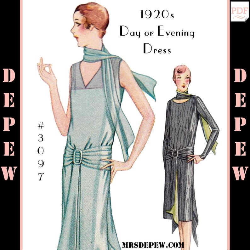 Vintage Sewing Pattern Ladies' 1920s Day or Evening Dress image 0
