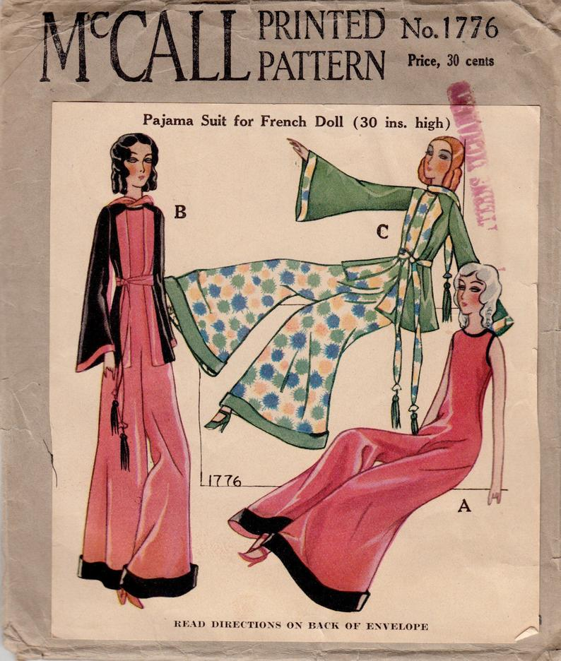 Vintage Sewing Pattern McCall 1776 1920s French Boudoir Doll image 0