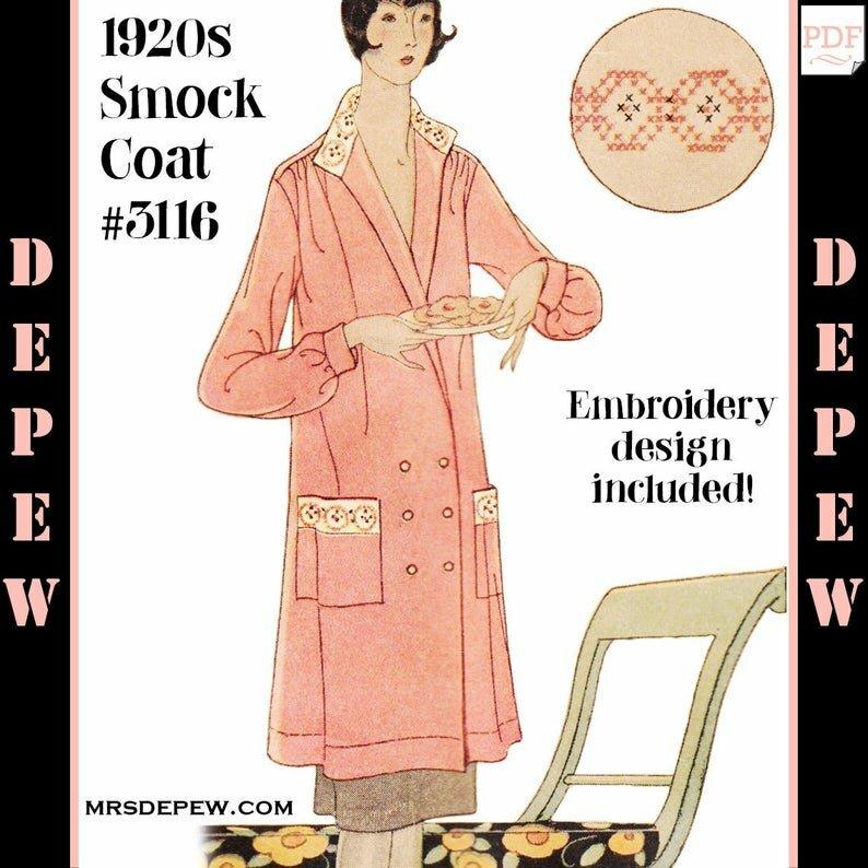 Vintage Sewing Pattern Ladies' 1920s Smock Coat 3116 image 0