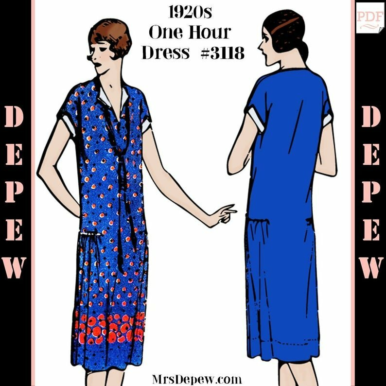 Vintage Sewing Pattern 1920s MultiSize One Hour Dress image 0