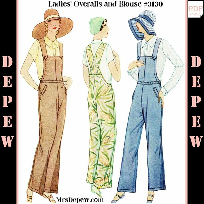 Vintage Sewing Pattern Ladies' 1920s  1930s Overalls  and image 0