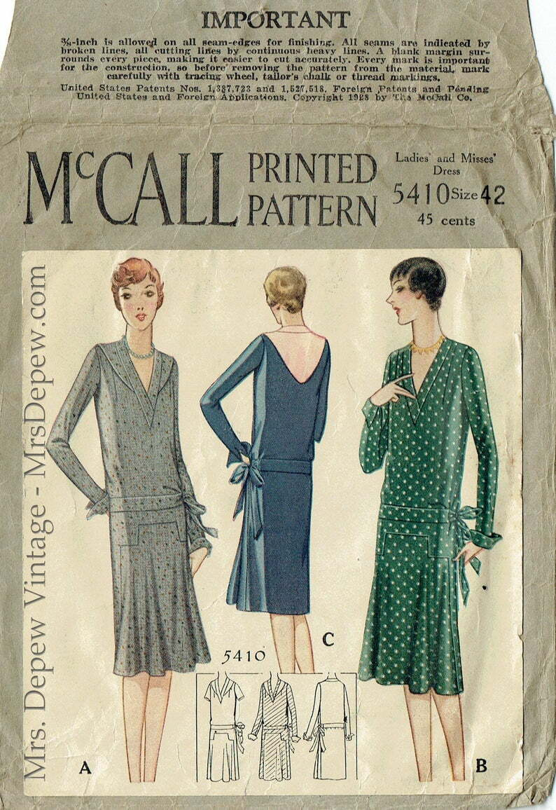 ORIGINAL Vintage Sewing Pattern Ladies' 1920s Day Dress image 0