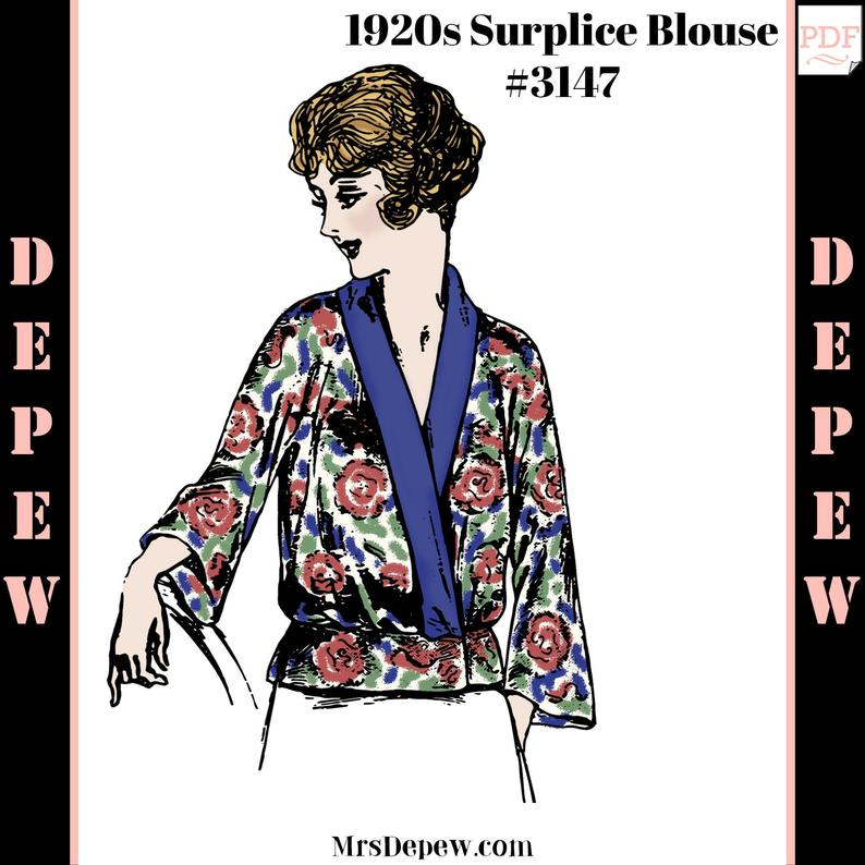 Vintage Sewing Pattern 1920s Ladies' Surplice Wrap Blouse image 0