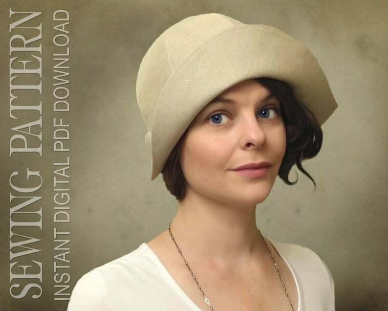 SEWING PATTERN  Vivienne 1920s Twenties Cloche Fabric Hat image 0