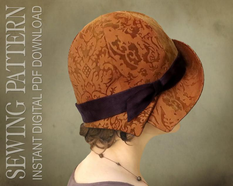 SEWING PATTERN  Annick 1920s Twenties Cloche Fabric Hat for image 0