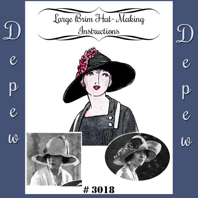 Vintage Sewing Pattern 1920's Large Brim Hat Depew 3018 image 0