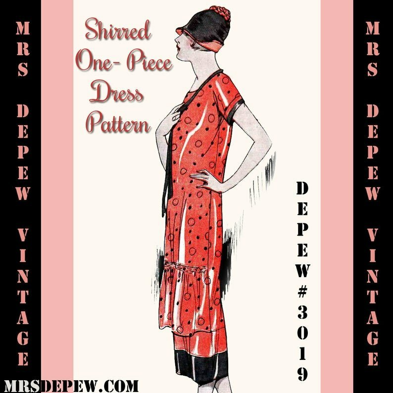 Vintage Sewing Pattern Instructions 1920s Shirred Front Dress image 0