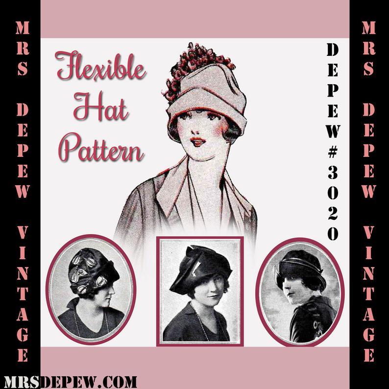 Vintage Sewing Pattern 1920's Flexible Hat Depew 3020 image 0