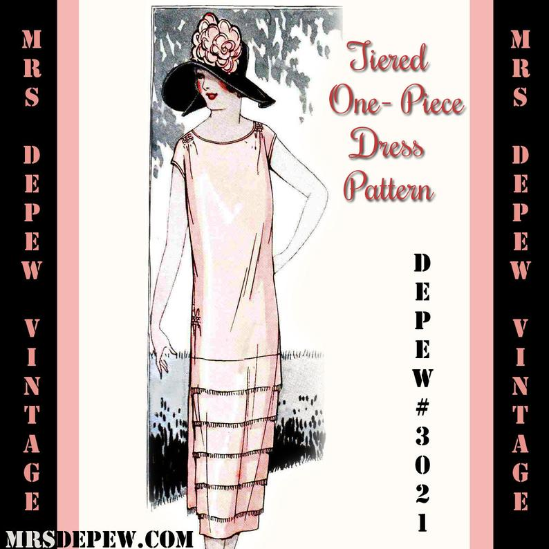 Vintage Sewing Pattern Instructions 1920s Tiered One-Piece image 0