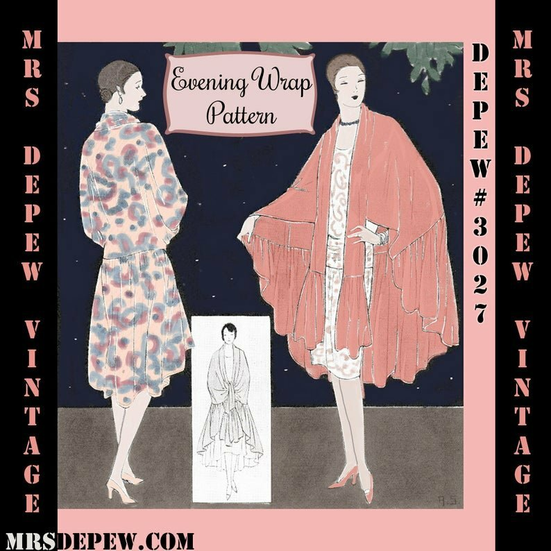 Vintage Sewing Pattern 1920s Evening Wrap or Cape Digital image 0