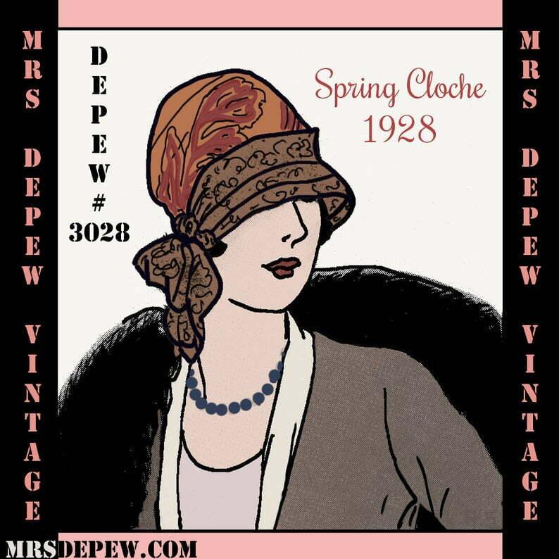 Vintage Sewing Pattern 1920's Spring Cloche Hat Depew 3028 image 0