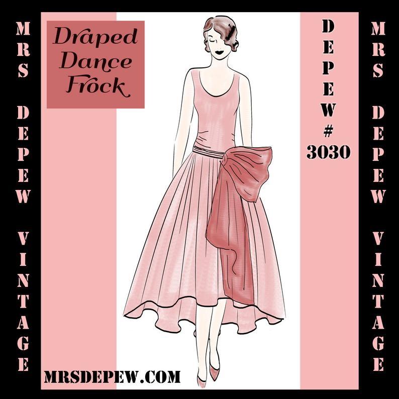 Vintage Sewing Pattern Instructions 1920s Flapper Easy Draped image 0