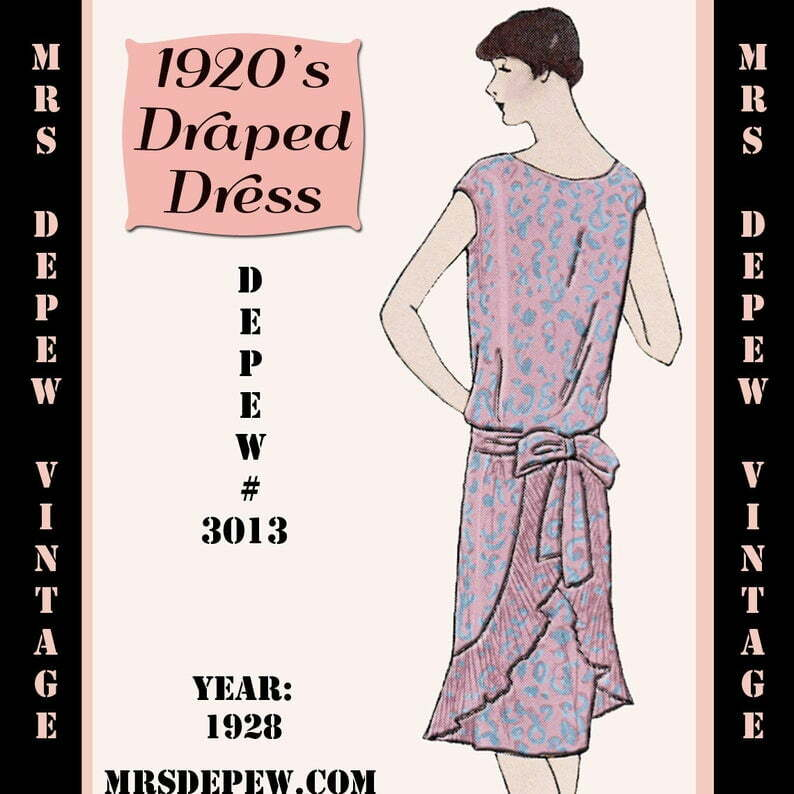 Vintage Sewing Pattern 1920's Flapper Draped Dress Ebook image 0