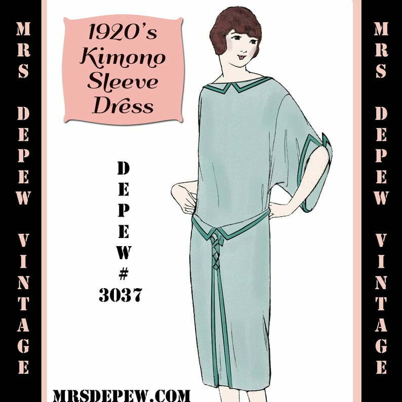 Vintage Sewing Pattern 1920's Flapper Kimono Sleeve Dress image 0