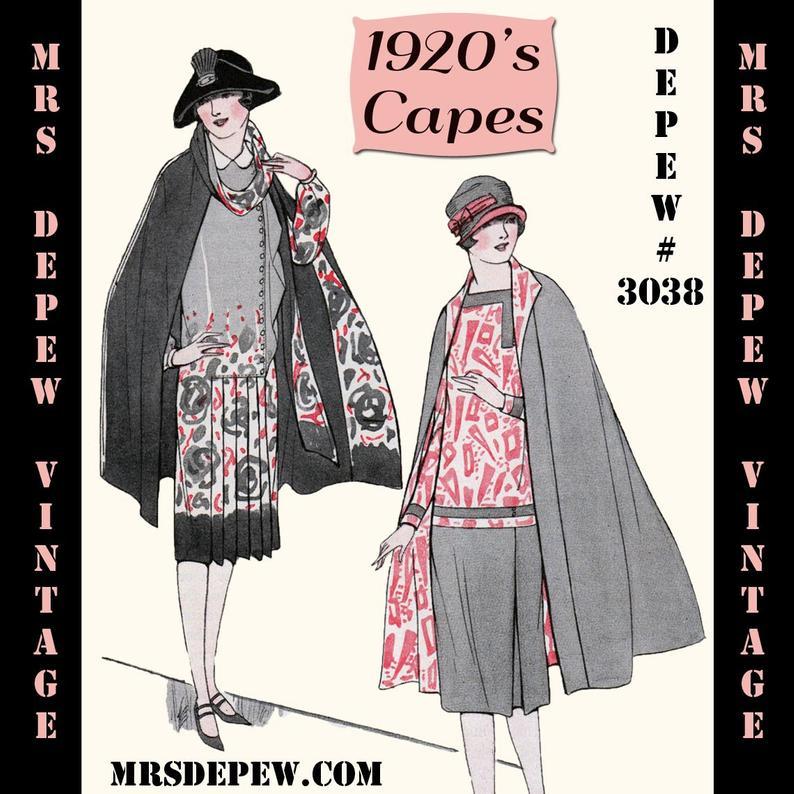 Vintage Sewing Pattern 1920s Capes Booklet Depew 3038 INSTANT image 0