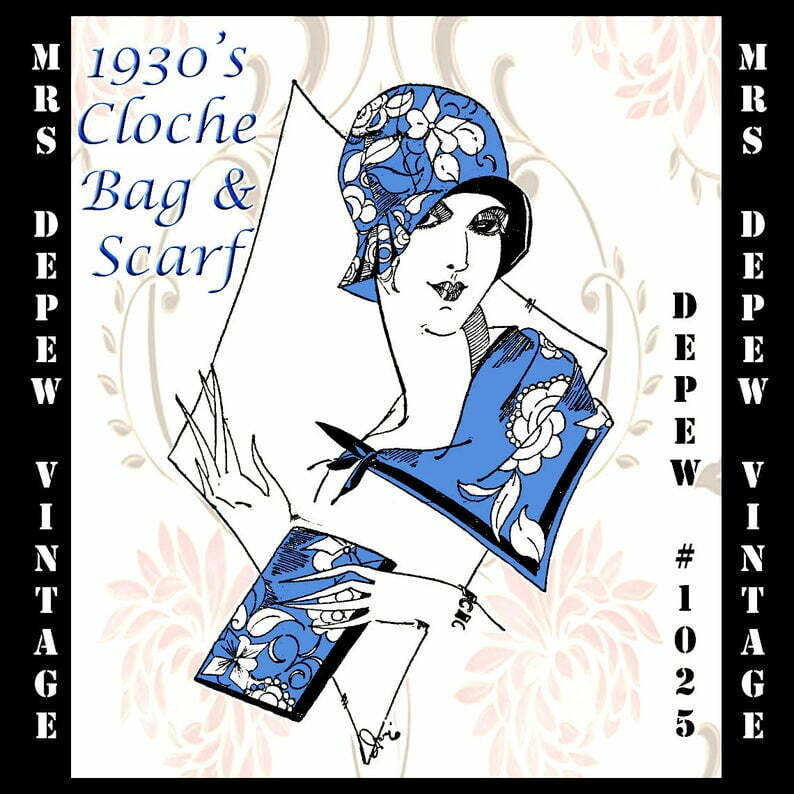 Vintage Sewing Pattern French 1930's Cloche Hat Clutch image 0