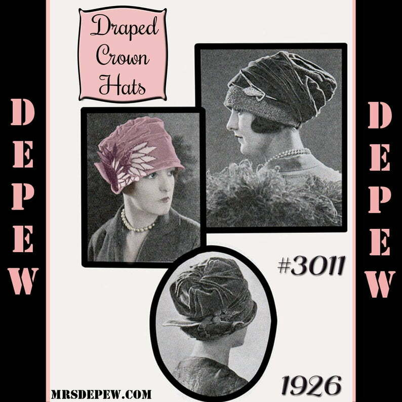 Vintage Sewing Pattern 1920's Draped Crown Hat in 3 Styles image 0