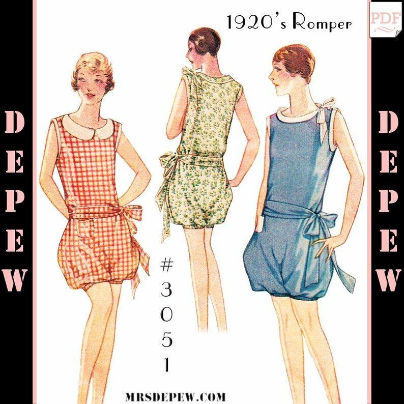 Vintage Sewing Pattern Ladies' 1920s Romper Playsuit 3051 image 0