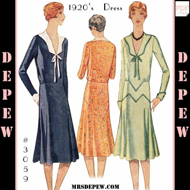 Vintage Sewing Pattern Ladies' 1920s Long Sleeve Dress image 0