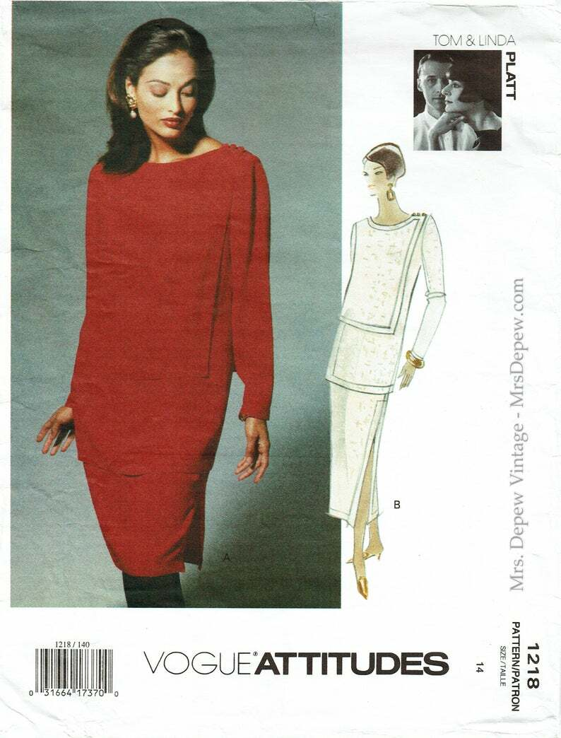Vintage Sewing Pattern Ladies' Dress 1990s Vogue 1218 image 0