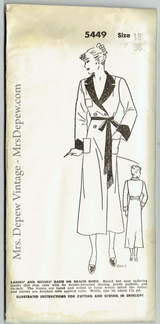 Vintage Sewing Pattern Mail Order 5449 Ladies' 1930s Robe image 0