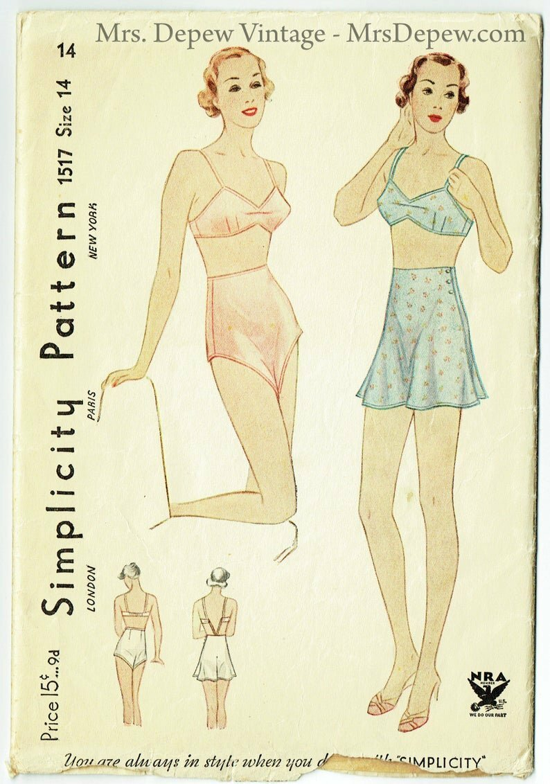 Vintage Sewing Pattern 1930s Ladies' Lingerie Set Bra and image 0