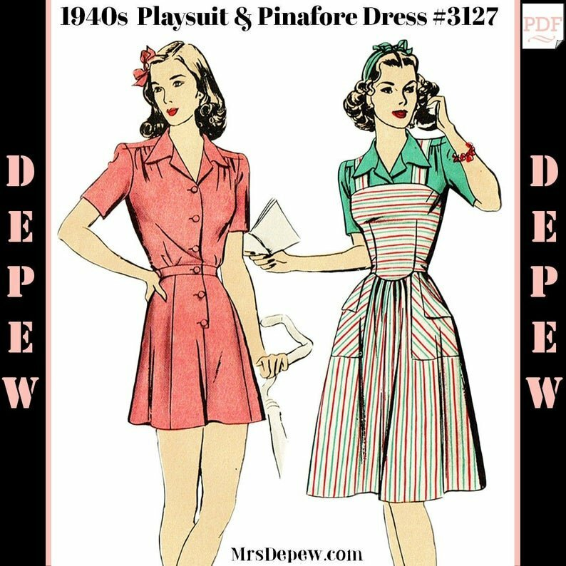 Vintage Sewing Pattern 1940s Ladies' Playsuit Blouse image 0