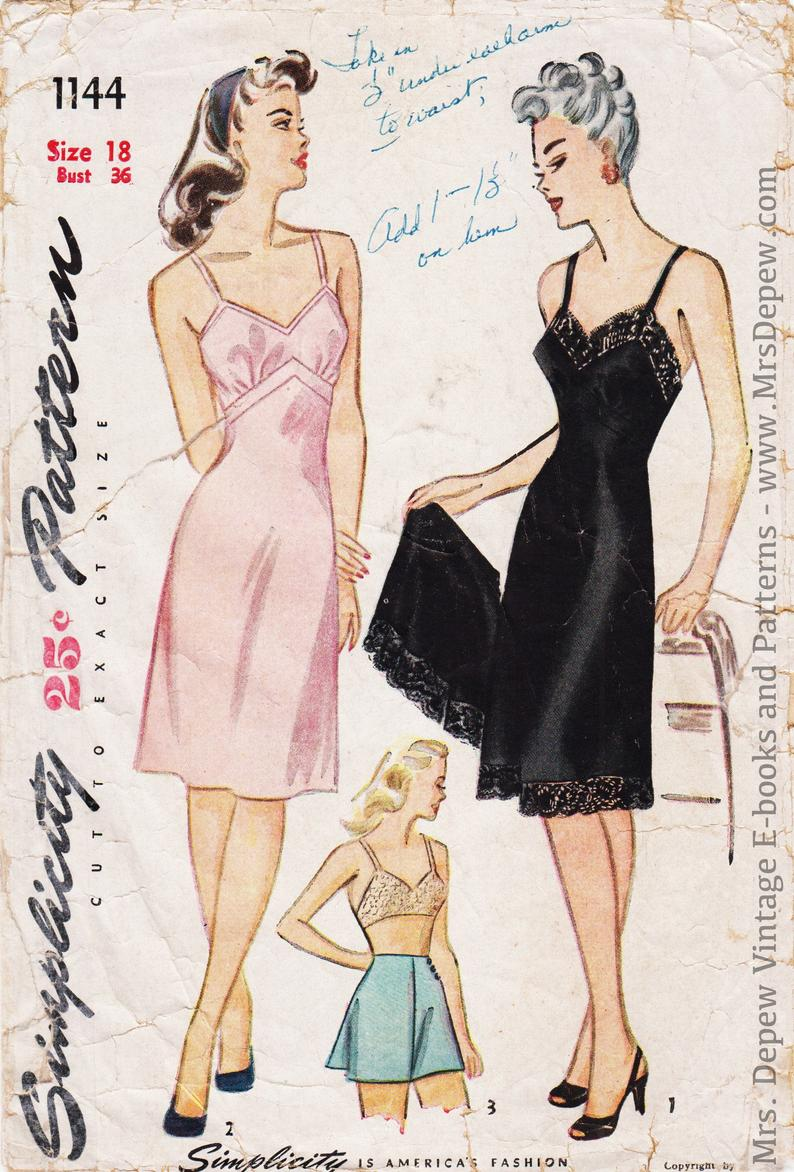 Vintage Sewing Pattern Ladies' Lingerie Set Slip Bra and image 0