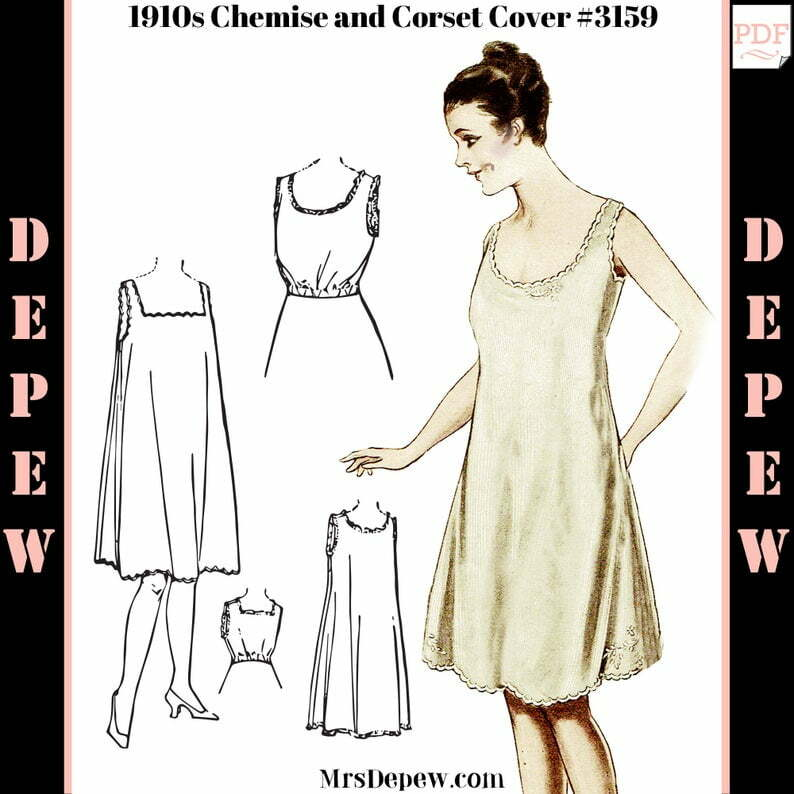 Vintage Sewing Pattern Ladies' 1910s Chemise Slip and image 0