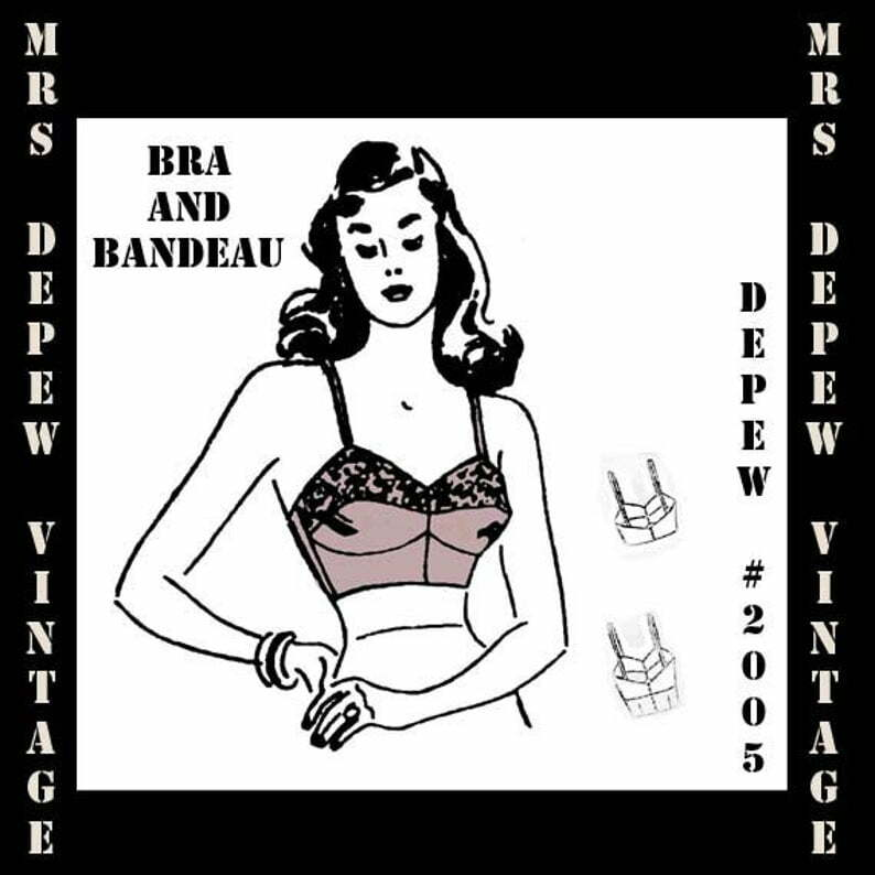 Vintage Sewing Pattern 1940s Ladies Bra and Bandeau Printable image 0