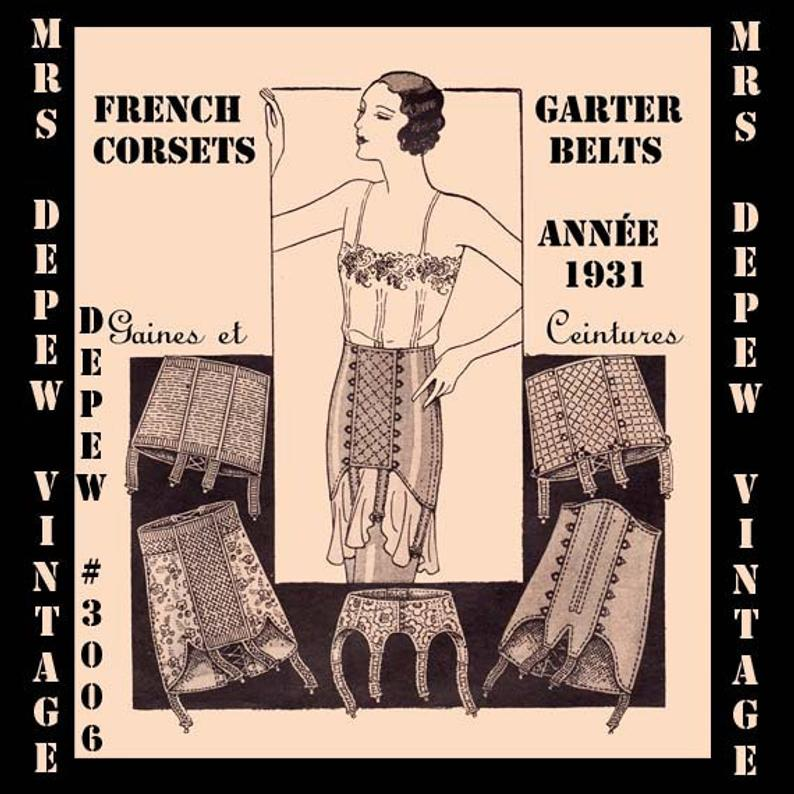 Vintage Sewing Pattern French 1930s Corset Garter Belt and image 0