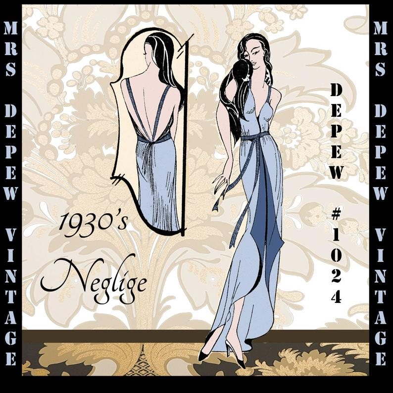 Vintage Sewing Pattern 1930's Easy Negligee Nightie image 0